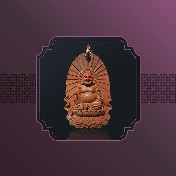 India Old Mountain Sandalwood Laughing Buddha